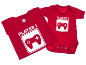 Player 1 And Player 2 - Mens T Shirt With Short Sleeve Bodysuit Matching Gift Set