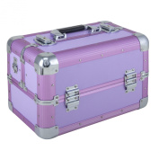 Tool box aluminium Beauty Makeup Therapist Artist Cosmetics Case Box Big - purple - FS-01-A