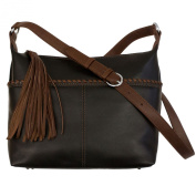 Whipstitched Leather Hobo Handbag