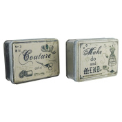 Two Vintage Style Button Sewing Storage Tins