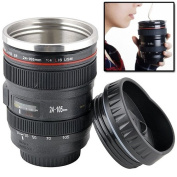 AMOS Camera Lens Cup DSLR EF 24-105mm Zoom Lens Stainless Steel Lined Thermos Coffee Tea Travel Mug Flask + Multipurpose Realistic Lens Cover Sip Lid Pen Holder Pot Novelty Gift
