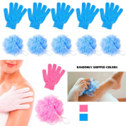 12Pc Shower Bath Glove Mesh Ball Wash Skin Massage Scrub Loofah Body Scrubber