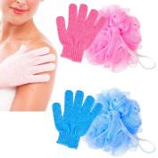 4Pc Shower Bath Glove Mesh Ball Wash Skin Spa Massage Scrub Loofah Body Scrubber