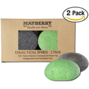 Konjac Face Sponge with Bamboo Charcoal and Green Tea - 2 Pack - 100% Natural Konjac Sponge for Improving Skin's Look and Feel - Sponges Each Come with an Attached String