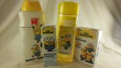 Minions 4pc Bath Set Bundle Banana Scented Bubble Bath & Body Wash, Adhesive Bandages Band aids & Bathtub Fizzies