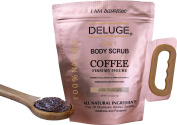 Organic Coffee Body Scrub, Tightens, Tones, Reduces Cellulite 100% Natural 300ml by DELUGE--NEW PACKAGING