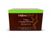 Organic Virgin Coconut Oil Soap and Body Scrub with Real Moringa Leaves Is the Best Natural Exfoliant for Fresh Clean Feel Every Bath - for Healthy and Glowing Rosy Skin