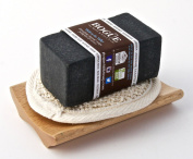 Bogue Milk Soap, No.4 Goat Milk Bar-130ml Detoxifying Activated Charcoal with Orange, Petitgrain, Vetiver Essential Oils with Small Loafa and Tray.