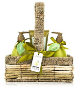Deluxe Spa Bath Gift Set. Pear Body Lotion, Shower Gel in Exquisite Willow Basket Display, Ribbon & Hangtag