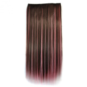 Colorlife 22 Inch/ 55cm Brown and Pink Mixed Colour Straight Synthetic Hair Extension with 5 Clips