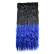 Stepupgirl 60cm Black to Dark Blue Ombre Colour Scalded Corn Wavy Full Head Synthetic Clip in Hair Extension