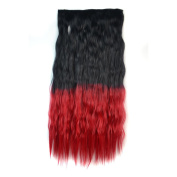 Stepupgirl 60cm Black to Bright Red Ombre Colour Scalded Corn Wavy Full Head Synthetic Clip in Hair Extension