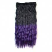 Stepupgirl 60cm Black to Dark Purple Ombre Colour Scalded Corn Wavy Full Head Synthetic Clip in Hair Extension