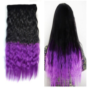 Stepupgirl 60cm Black to Violet Purple Ombre Colour Scalded Corn Wavy Full Head Synthetic Clip in Hair Extension