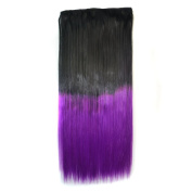 Stepupgirl 60cm Black 1B# Ombre Purple Colour Straight Full Head Synthetic Clip in Hair Extension