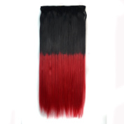 Stepupgirl 60cm Black 1B# Ombre Red Colour Straight Full Head Synthetic Clip in Hair Extension