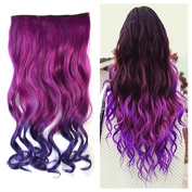 Colorlife 20 Inch/ 50cm Red to Purple Ombre Colour Curly Synthetic Hair Extension with 5 Clips