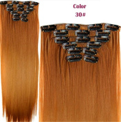 Tomorrowlover Hairpiece 60cm 140g Straight 16 Clips in False Hair Styling Synthetic Clip In Hair Extensions 6pcs/set Heat Resistant Hair Pad