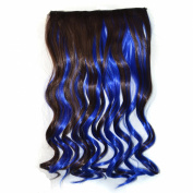 Stepupgirl 50cm Dark Brown Mixed Dark Blue Colour Curly Full Head Synthetic Clip in Hair Extension with Souvenir Card