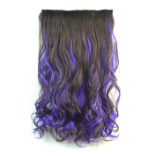 Stepupgirl 50cm Dark Brown Mixed Purple Colour Curly Full Head Synthetic Clip in Hair Extension with Souvenir Card