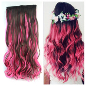 Stepupgirl 50cm Dark Brown and Hot Pink Mixed Colour Curly Full Head Synthetic Clip in Hair Extension with Souvenir Card