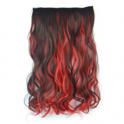 Stepupgirl 50cm Dark Brown Mixed Bright Red Colour Curly Full Head Synthetic Clip in Hair Extension with Souvenir Card