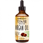Molivera Organics Premium Argan Oil 120ml 100% Pure Moroccan Organic Triple Extra Virgin Cold Pressed Best for Hair, Skin, Face & Nails - Great for DIY - UV Resistant Bottle-Satisfaction Guarantee
