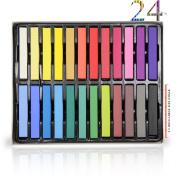 24 Colours Temporary Hair Chalk Set - Non-Toxic Rainbow Coloured Dye Pastel Kit