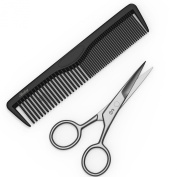 10cm Facial Hair Scissors & Comb for Beards, Moustaches, Eyebrows, Nose Hair, Ear Hair & Personal Care Trimming - Precision Stainless Steel By Sterling Beauty Tools.