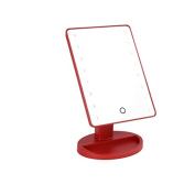 LUXEBEAUTY Vanity Lighted Makeup Mirror 16 LED Lights - Rotatable with a Touchscreen OFF/ON Feature - Cordless & Portable Convenience - Red Finish