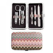 Chevron Zig Zag Pattern Travel Manicure Set with Case
