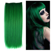 Stepupgirl 60cm Grass Green Colour Straight Full Head Synthetic Clip in Hair Extension
