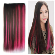 Stepupgirl 60cm Dark Brown Mixed Watermelon Red Colour Straight Synthetic Full Head Clip in Hair Extension with Souvenir Card
