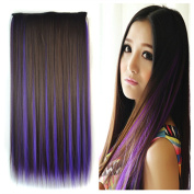 Stepupgirl 60cm Dark Brown Mixed Dark Purple Colour Straight Synthetic Full Head Clip in Hair Extension with Souvenir Card