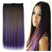 Stepupgirl 60cm Dark Brown Mixed Dark Purple Colour Straight Synthetic Full Head Clip in Hair Extension with Souvenir Card