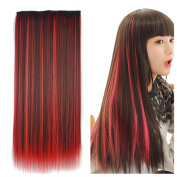 Stepupgirl 60cm Dark Brown Mixed Red Colour Straight Synthetic Full Head Clip in Hair Extension with Souvenir Card