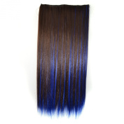 Stepupgirl 60cm Dark Brown Mixed Dark Blue Colour Straight Synthetic Full Head Clip in Hair Extension with Souvenir Card