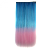Stepupgirl 60cm Dream Blue to Light Pink Ombre Colour Straight Full Head Synthetic Clip in Hair Extension