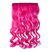 Colorlife 20 Inch/ 50cm Hot Pink Colour Curly Synthetic Full Head Hair Extension with 5 Clips