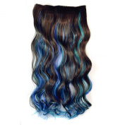 Colorlife 20 Inch/ 50cm Brown Sky Blue Dark Blue 3 Mixed Colour Curly Synthetic Hair Extension with 5 Clips
