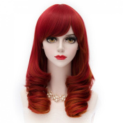 MQ Cosplay Wig Airy Curly Wave Hair Red 948