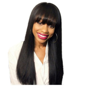 Sunny Grace®silk Straight Hair Full Lace Wigs Long Hair with Bangs Glueless Natural Colour Brazilian Human Hair for Black Women 100% Density