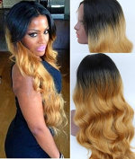 Royal -First Hair 70cm Long Ombre Natural Black To Blond Tone Colour Wavy Style Heat Resistant Synthetic Lace Front Wig