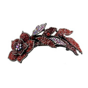 DoubleAccent Hair Jewellery Large Simulated Crystal Long Stem Rose Barrette, Red