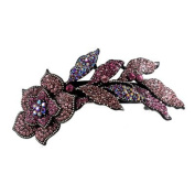 DoubleAccent Hair Jewellery Large Simulated Crystal Long Stem Rose Barrette, Pink