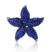 DoubleAccent Hair Jewellery Small Simulated Crystal Starfish Barrette, Blue