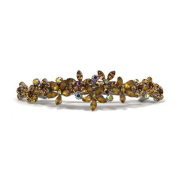 DoubleAccent Hair Jewellery Contrasting Simulated Crystal Flower Barrette, Light Brown