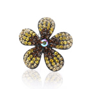 DoubleAccent Hair Jewellery Simulated Crystal Flower Hair Barrettes, Light Brown