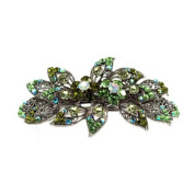 DoubleAccent Hair Jewellery Large Simulated Crystal Bouquet Barrette, Green