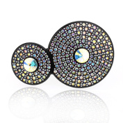 DoubleAccent Hair Jewellery Simulated Crystal Two Round Hair Barrettes,